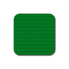 Pattern Green Background Lines Rubber Square Coaster (4 Pack)  by Nexatart