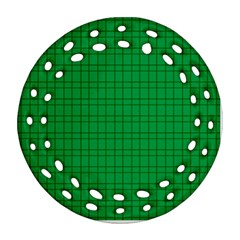 Pattern Green Background Lines Round Filigree Ornament (two Sides)