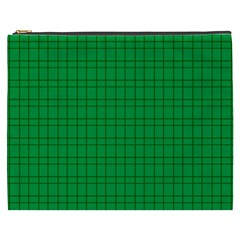 Pattern Green Background Lines Cosmetic Bag (xxxl)  by Nexatart