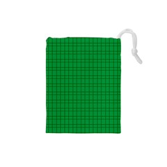 Pattern Green Background Lines Drawstring Pouches (small)  by Nexatart