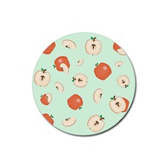 Apple Fruit Background Food Rubber Round Coaster (4 Pack)  by Nexatart