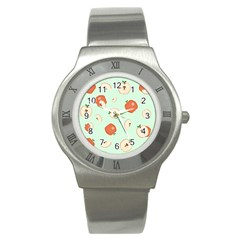 Apple Fruit Background Food Stainless Steel Watch