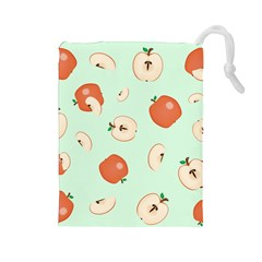 Apple Fruit Background Food Drawstring Pouches (large)