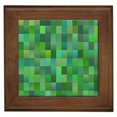 Green Blocks Pattern Backdrop Framed Tiles by Nexatart