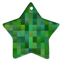 Green Blocks Pattern Backdrop Ornament (star)
