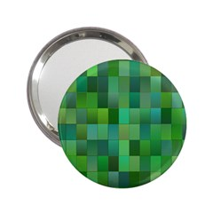 Green Blocks Pattern Backdrop 2 25  Handbag Mirrors by Nexatart