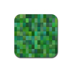 Green Blocks Pattern Backdrop Rubber Coaster (square)  by Nexatart
