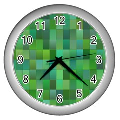 Green Blocks Pattern Backdrop Wall Clocks (silver)  by Nexatart