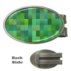 Green Blocks Pattern Backdrop Money Clips (oval)  by Nexatart