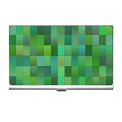 Green Blocks Pattern Backdrop Business Card Holders by Nexatart