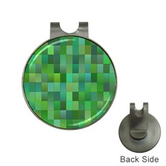 Green Blocks Pattern Backdrop Hat Clips With Golf Markers by Nexatart