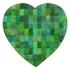Green Blocks Pattern Backdrop Jigsaw Puzzle (heart) by Nexatart