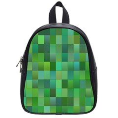 Green Blocks Pattern Backdrop School Bags (small)  by Nexatart