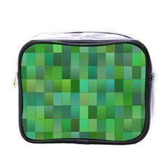 Green Blocks Pattern Backdrop Mini Toiletries Bags