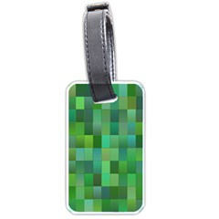Green Blocks Pattern Backdrop Luggage Tags (two Sides) by Nexatart