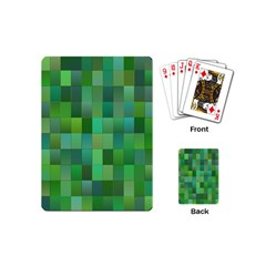 Green Blocks Pattern Backdrop Playing Cards (mini)  by Nexatart