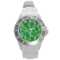 Green Blocks Pattern Backdrop Round Plastic Sport Watch (l)