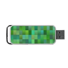 Green Blocks Pattern Backdrop Portable Usb Flash (one Side)
