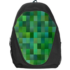 Green Blocks Pattern Backdrop Backpack Bag by Nexatart