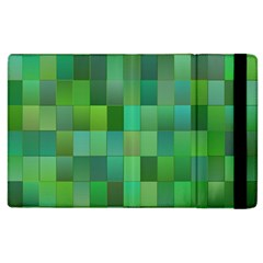 Green Blocks Pattern Backdrop Apple Ipad 3/4 Flip Case by Nexatart