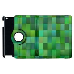 Green Blocks Pattern Backdrop Apple Ipad 2 Flip 360 Case by Nexatart