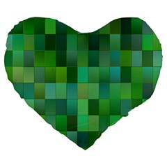 Green Blocks Pattern Backdrop Large 19  Premium Heart Shape Cushions