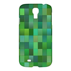 Green Blocks Pattern Backdrop Samsung Galaxy S4 I9500/i9505 Hardshell Case by Nexatart
