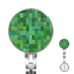 Green Blocks Pattern Backdrop Stainless Steel Nurses Watch
