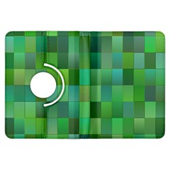Green Blocks Pattern Backdrop Kindle Fire Hdx Flip 360 Case by Nexatart