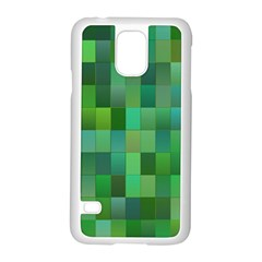 Green Blocks Pattern Backdrop Samsung Galaxy S5 Case (white) by Nexatart