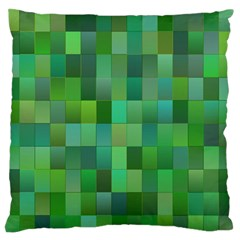 Green Blocks Pattern Backdrop Large Flano Cushion Case (two Sides)