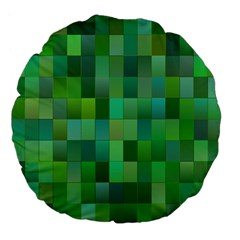 Green Blocks Pattern Backdrop Large 18  Premium Flano Round Cushions by Nexatart