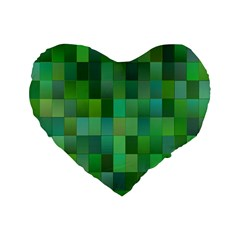Green Blocks Pattern Backdrop Standard 16  Premium Flano Heart Shape Cushions by Nexatart