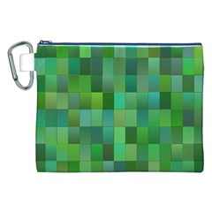 Green Blocks Pattern Backdrop Canvas Cosmetic Bag (xxl) by Nexatart