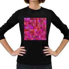Shapes Abstract Pink Women s Long Sleeve Dark T-Shirts