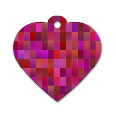 Shapes Abstract Pink Dog Tag Heart (two Sides) by Nexatart