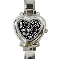 Dot Dots Round Black And White Heart Italian Charm Watch by Nexatart