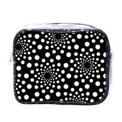 Dot Dots Round Black And White Mini Toiletries Bags by Nexatart