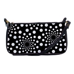 Dot Dots Round Black And White Shoulder Clutch Bags by Nexatart