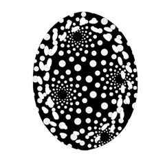 Dot Dots Round Black And White Oval Filigree Ornament (two Sides) by Nexatart