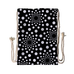 Dot Dots Round Black And White Drawstring Bag (small) by Nexatart