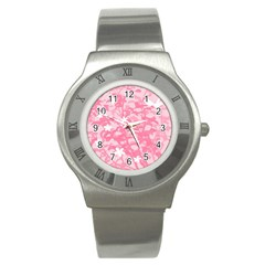 Plant Flowers Bird Spring Stainless Steel Watch by Nexatart