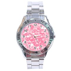 Plant Flowers Bird Spring Stainless Steel Analogue Watch
