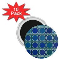 Circles Abstract Blue Pattern 1 75  Magnets (10 Pack)  by Nexatart