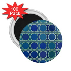 Circles Abstract Blue Pattern 2 25  Magnets (100 Pack)  by Nexatart