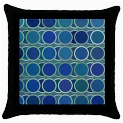 Circles Abstract Blue Pattern Throw Pillow Case (black) by Nexatart