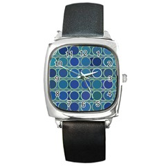Circles Abstract Blue Pattern Square Metal Watch
