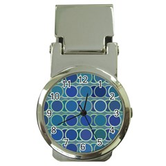 Circles Abstract Blue Pattern Money Clip Watches by Nexatart
