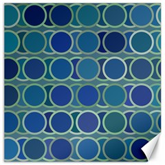Circles Abstract Blue Pattern Canvas 16  X 16