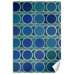 Circles Abstract Blue Pattern Canvas 24  X 36